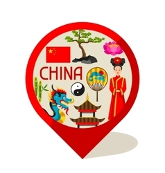 China marker design chinese symbols and objects vector