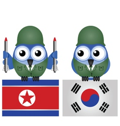 North south korea flags vector