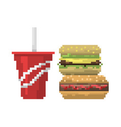 Pixel art fast food hamburger and cola icons vector
