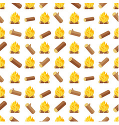 Wood logs and bonfires seamless pattern vector