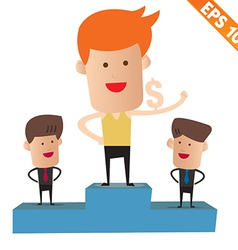 Cartoon business man on winner podium - - ep vector