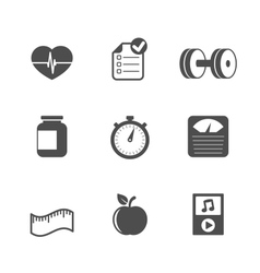 Fitness icons set contrast flat vector