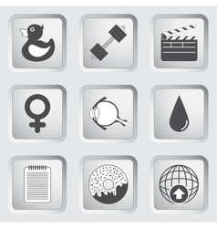 Icons on the buttons for web design set 6 vector
