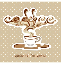 Vintage cup of coffee with ornate steam and title vector
