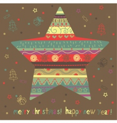Christmas card with star vector image