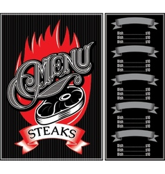 Template for menu of steaks grill barbecue vector