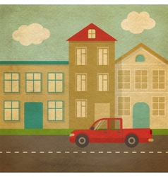 Flat urban landscape in retro style vector