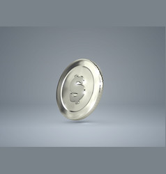 3d silver coin with dollar sign vector image