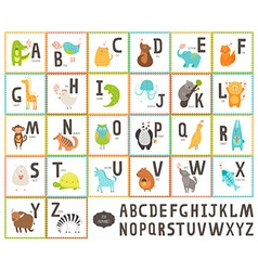 Cute zoo alphabet with cartoon animals vector