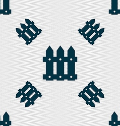 Fence icon sign seamless pattern with geometric vector