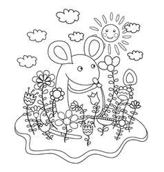 Mouse coloring book vector