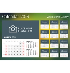 Calendar for 2016 year design print template with vector