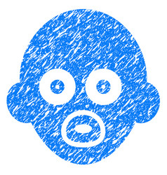 Baby head grunge icon vector