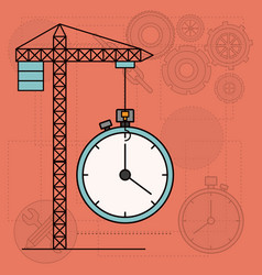 background with crane tower and clock vector image