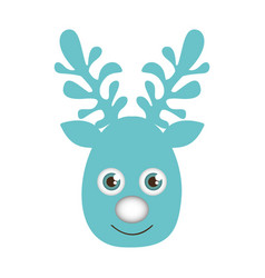 blue silhouette cute face reindeer animal vector image