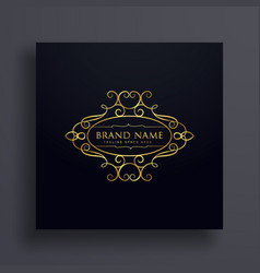 brand logo design with floral decoration vector image