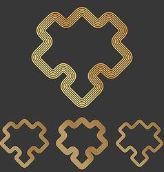 Bronze line puzzle logo design set vector