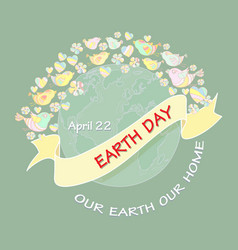 Cartoon earth day planet and text vector