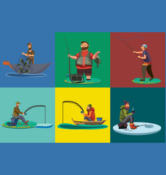 Cartoon fisherman standing in hat and pulls net on vector