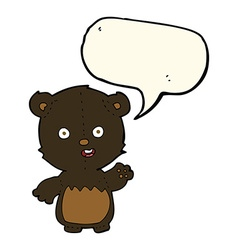 cartoon waving black bear cub with speech bubble vector image vector image