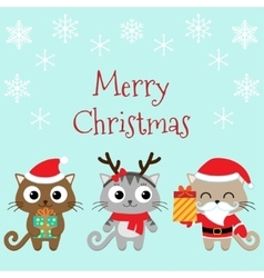Christmas family of cats vector image vector image