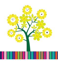 cute cartoon flower tree vector image vector image
