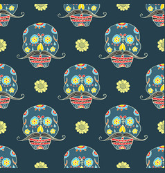 day of the dead seamless pattern handdrawn sugar vector image