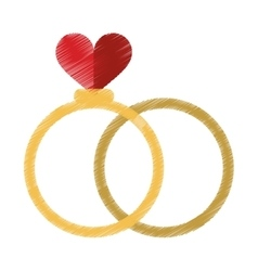 drawing two romance rings love heart wedding vector image vector image