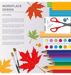Education graphic template Schoolboy workplace vector image