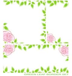 Green leaf border set vector
