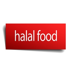 Halal food red square isolated paper sign on white vector