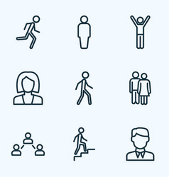 Human outline icons set collection of worker vector