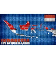 Indonesia map on a brick wall vector