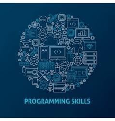 Line Programming Skills Icons Circle vector image vector image