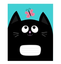 Notebook cover composition book template black cat vector
