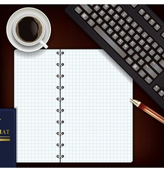office desk with coffee keyboard and notepad vector image vector image