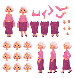 old senior woman character creation set vector image