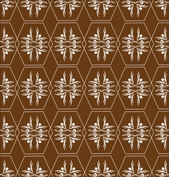 Pattern of hexagons white on brown vector