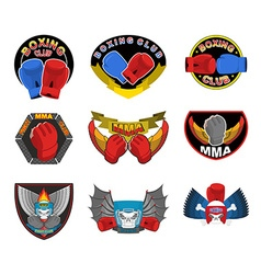 Set of boxing emblems logos and stripes MMA fight vector image