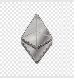 Silver ethereum coin trendy 3d style icon vector