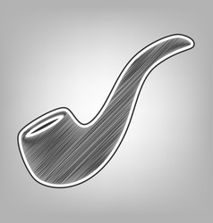 Smoke pipe sign pencil sketch imitation vector