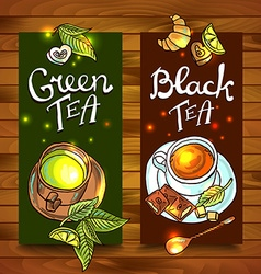tea banners vector image vector image