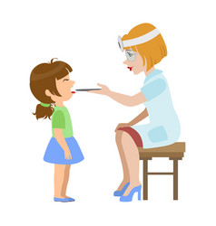 Therapist checking throat of a little girl part vector
