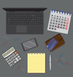 View of office dark desk background including vector