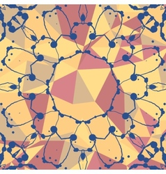 Yellow and red mosaic background and watercolor vector