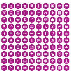 100 natural disasters icons hexagon violet vector