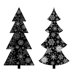 Christmas trees silhouette vector