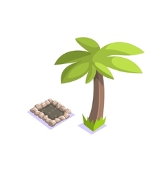 Grave under the palm tree jungle village landscape vector