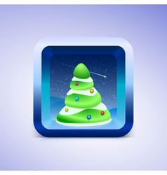 Green festive fir icon ios style vector