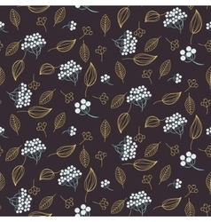 Rowan and leaves seamless pattern vector